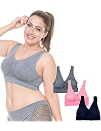 Barbra 3 Pack Women's Plus Size Seamless Comfort Sports Bras with Removable Pads