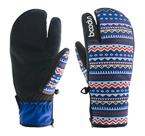 Timeiya Ethnic Women's Three Fingers Thick Warm Waterproof Skiing and Cycling Gloves Outdoor HiPORA