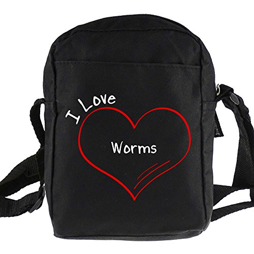 Umhängetasche Modern I Love Worms schwarz