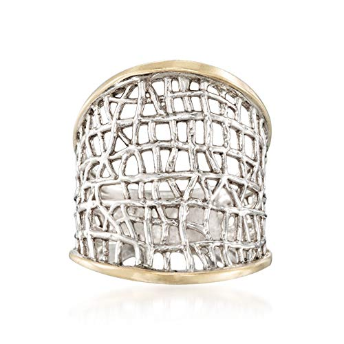 Ross-Simons Sterling Silver and 14kt Yellow Gold Free-Form Lattice Ring ()