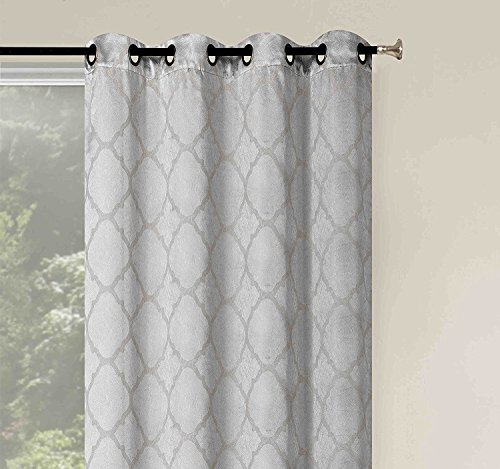 2 Pack: Basic Metallic Sheen Energy Saving Lattice Grommet Top 84-in Blackout Curtains - Assorted Colors (Silver)