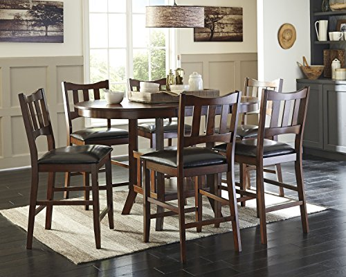 Renaburg Medium Brown Color Oval Counter Table W/ 6 Barstools