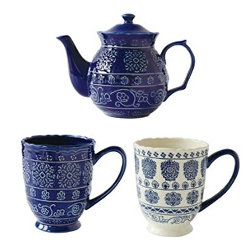 Ceramic Drinking Ware Kit/European Flower Tea Cup Set/Creative Mugs/ Tea-tea-A
