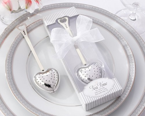 48 ''Tea Time'' Heart Tea Infusers in Elegant White Gift Boxes by Kate Aspen