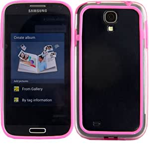 Bumper Case Cover Shell For Samsung Galaxy S4 I9500 I9505 / Clear Hot Pink