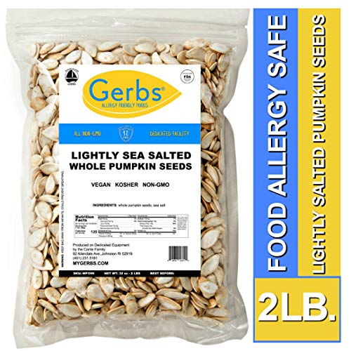 Lightly Sea Salted Whole Pumpkin Seeds, 2 LBS by Gerbs - Top 14 Food Allergy Free & Non GMO - Vegan, Keto Safe & Kosher - Pepitas grown in USA -