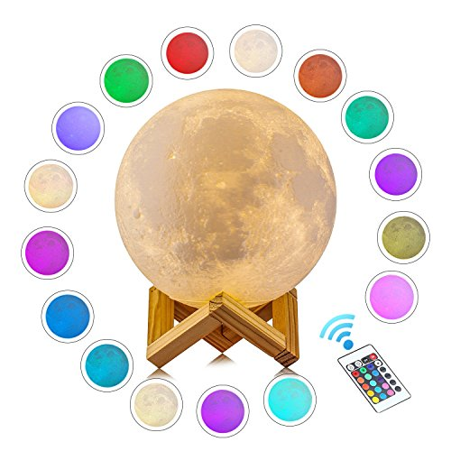 LOGROTATE Moon Lamp, 3D Print LED 16 Colors RGB Moon Light, 2018 Favorite Valentines Gifts Decorative Lights, Night Light with Remote&Touch Control and Adjustable Brightness&USB Recharge(5.9 inch)