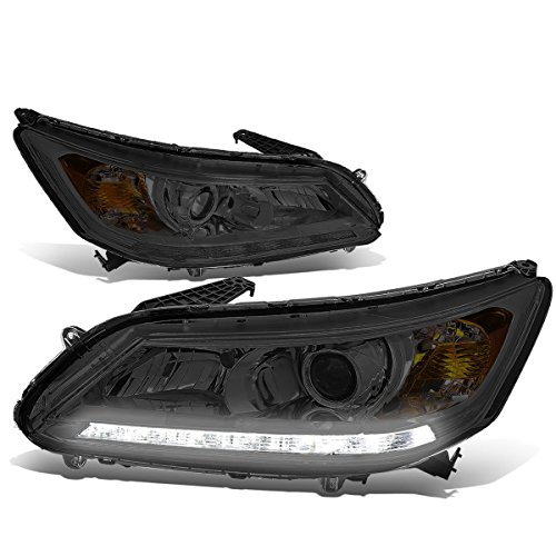 For 13-15 Honda Accord 4Dr Sedan Pair Smoke Lens Amber Corner LED DRL Projector Headlight - Projector Lights Accord Honda