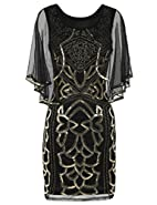 Kayamiya Women's Flapper Dress 1920s Sequin Deco Cocktail Gatsby Dress With Cape