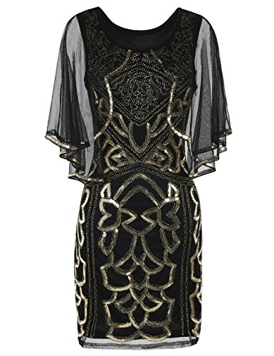 tage 1920s Gatsby Dress Sequin Deco Cape Cocktail Flapper Dress L Gold ()