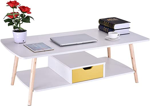 Modern Coffee Tables for Living Room with Storage, Simple Design Rectangular Sofa Table with Storage