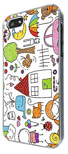 871 - Kids Drawing Sun Car Animals Rainbow Cat Moon.. Design iphone 5 5S Coque Fashion Trend Case Coque Protection Cover plastique et métal