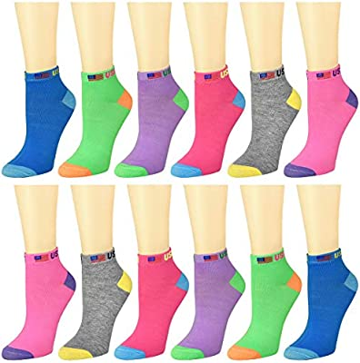 12-Pack Womens Ankle Socks Assorted Colors Size 9-11 66-550-41