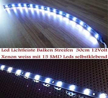 Tira de luces LED de 12V, blanco xenon, 30 cm., universal.: Amazon.es: Coche y moto