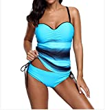 Xuan2Xuan3 Womens Tankini Top Swimsuit Color Block Two Pieces Criss Cross Cover Up Padded Swimwear With Triangle Suit Bathing Suit (US 18-20)2XL Blue