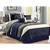 7-Pc Scroll Greek Key Meander Clover Floral Embossed Embroidery Pleated Comforter Set Navy Gray Off-