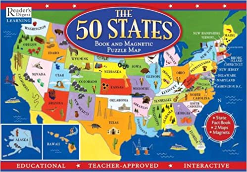 The States Book And Magnetic Puzzle Map Readers Digest - 50 state map