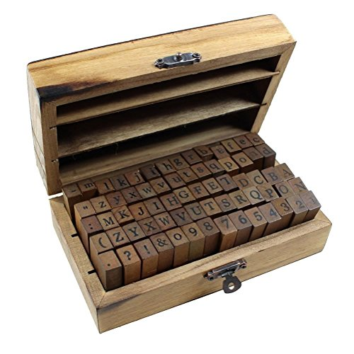 Lost Ocean 70pcs/Set Wooden Box Multipurpose Number Alphabet Letter Wood Rubber Stamp New