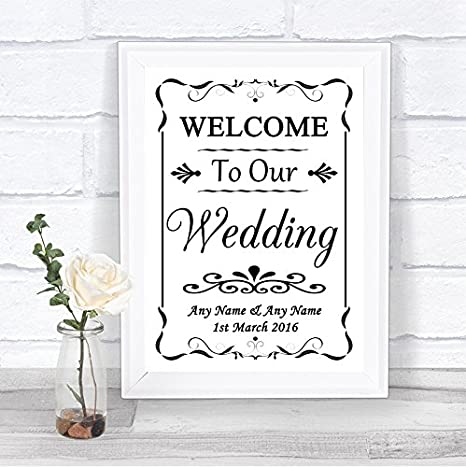 Amazon.com: Blanco y Negro Bienvenido a nuestra boda signo ...
