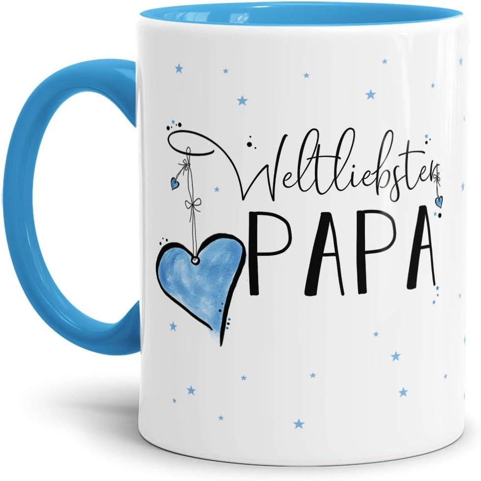 Juego de tazas normales., cerámica, Interior y asa de color azul claro., Weltliebster Papa
