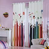 KoTing Home Fashion Polyester Modern Cartoon Paradise Children's Colorful Pencil Print Window Curtains Drapes Grommet Top,57 by 84-inch,for kids room,Set of 2 Panels