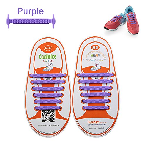 LattoGe No Tie Silicone Shoelaces Lace Lock Bands for Kids, Adults Athletic Running Shoe Laces,Seakers (1 Pair Kids Size Purple)
