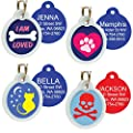 Unique Cute Pet Tags Personalized w/ 4 Lines of Custom Engraved Text. Dog & Cat Collar ID Tags Come w/Glow in the Dark Silencer to Protect Tag & Engraving. Various Designs.