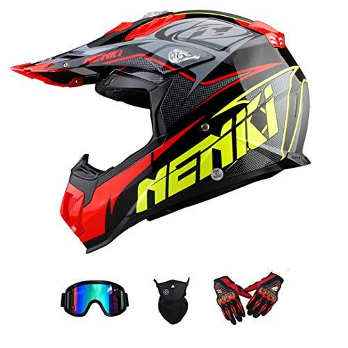 GWJNB Casco para Motocicleta De Motocross para Adultos Y Dot MX Motocross Mountain Bike A Campo Traviesa/Guantes / Gafas/Máscara (Juego De 4 Piezas): ...