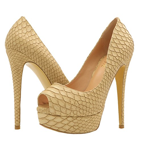 Platform High Heels for Dress Beige Toe Shoes Party MERUMOTE Pumps Peep Women's Wedding 54qwtt