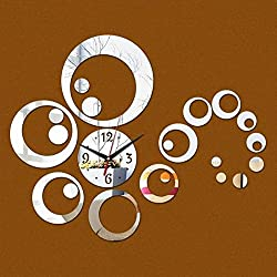 Mirror Wall Clock DIY Creative Circle Wall Stickers Clocks And Watches Decoration , Silver