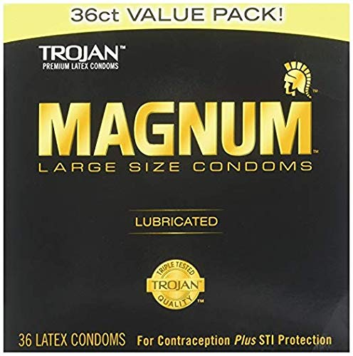 Magnum Lubricated Latex Large Size Condoms, 2 Boxes (36 Condoms) - Latex Lubricated Condoms Magnum