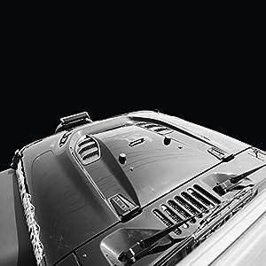 Black Mountain Black Primered Jeep Wrangler JK Heat Reduction Hood