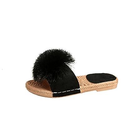05ab027a136d SUKEQ Womens Fuzzy Fur Slide Slippers Flat Sandals Summer Cute Pom Slip On  Mule Sandals (