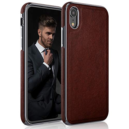 LOHASIC iPhone XR Case, Luxury Leather Slim Fit Rugged Bumper Soft Anti-Slip Grip Scratch Resistant Shockproof Protective Phone Cover Cases Compatible with Apple iPhone XR (2018) 6.1 inch - Brown ()