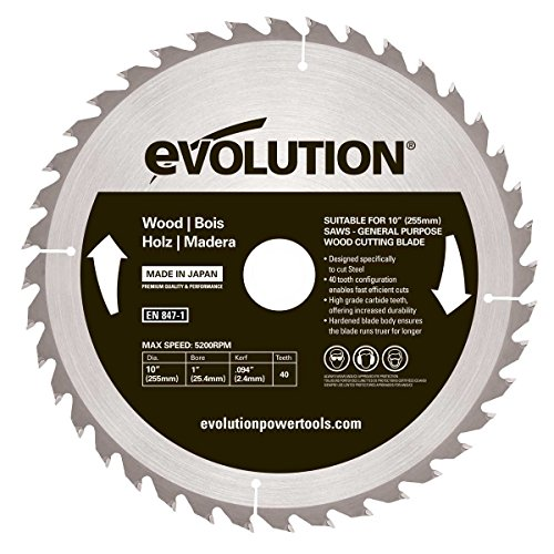 Evolution Power Tools 10BLADEWD 10-Inch Wood Cutting Blade with 1-Inch Arbor