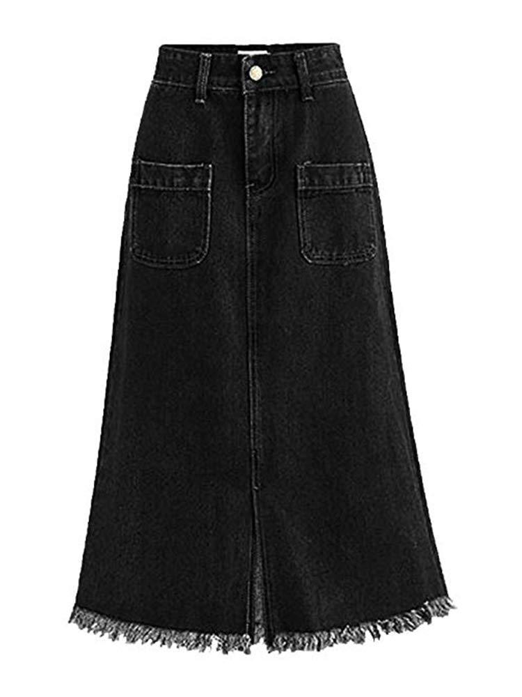 Women's High Waist A-Line Denim Mid Skirt Split Frayed Jean Skirt with Pockets Black Tag 4XL-US XL