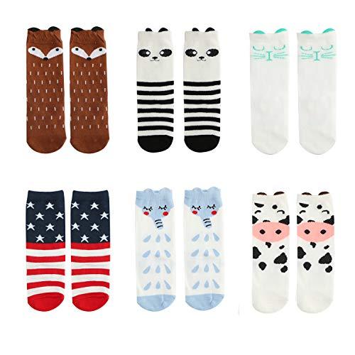 Bestjybt Baby Socks Infant Kids Toddler Socks Knee High Socks Animal Stockings, 6 Pairs (Style 02, 1-3 -