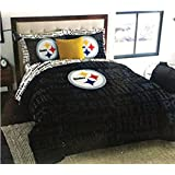 NFL Pittsburgh Steelers Football Queen Size Comforter and Sheet Set (Bed in a Bag)