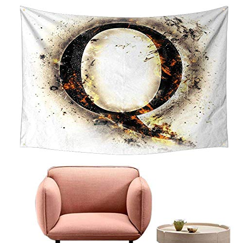 Agoza Room Tapestry Letter Q Words in Flames Gothic Style Influential Names Hazy Fire Featured Alphabet Home Decorations for Bedroom Dorm Decor 59