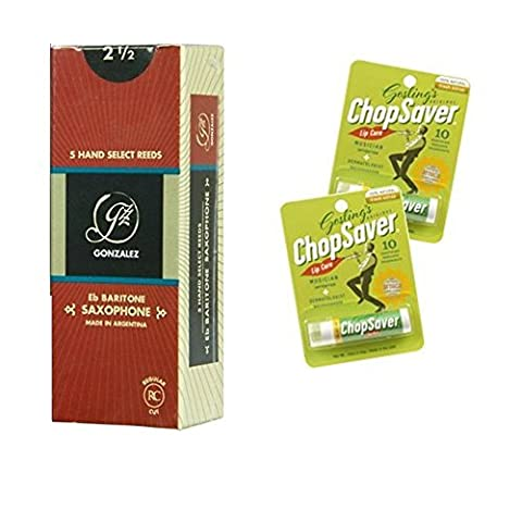 Baritone Saxophone Reeds Pack Of 5 Reeds Strength 2.5 With Bonus 2 Pack Of Chopsaver Lip Balm - Chopsaver Lip Balm