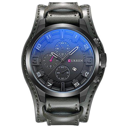 CURREN Original Mens Sports Waterproof Leather Strap Date Wrist Watch Good Quality 8225 Gray