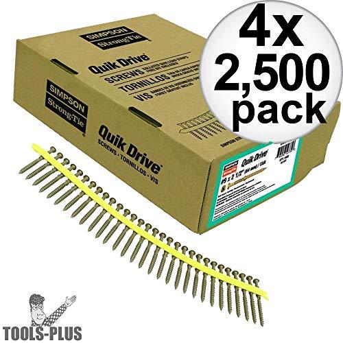 Quik Drive DWF158PS 2500pk #6 X 1 5/8'' Drywall Fine Thread Screws 2 Bits 4x 4-Pack by Quik Drive (Image #1)