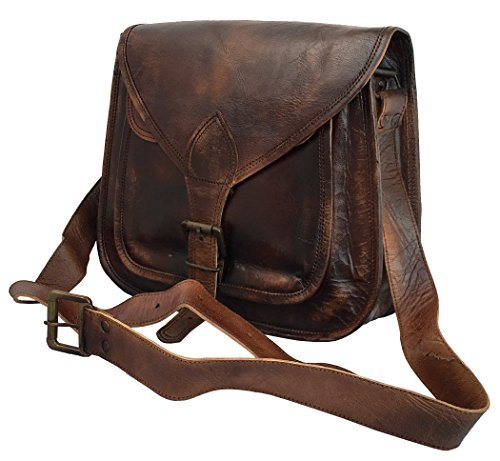 Leather Women Vintage Style Genuine Brown Leather Cross Body Shoulder Handmade Purse Tote Bag By DHK by DHK