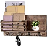 Mail Holder Organizer Wall Mount Key Holder Rack for Wall, Wood Mail Sorter with 4 Key Coat Hooks, Rustic Wall Hanging Decor for Entryway, Mudroom, Hallway, Kitchen, Office, Brown