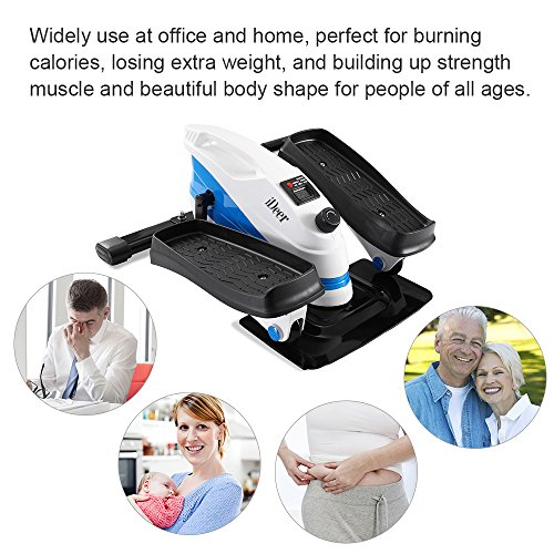 IDeer Under Desk&Stand Up Exercise Bike,Mini Elliptical Stepper Pedal Trainers with Adjustable Resistance and LCD Display, Fitness Exercise Peddler for Home&Office Workout
