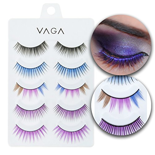 Make Up Set of 5 Pairs Fake Eyelashes False Eyes Lashes Artificial Extensions In Different Colors