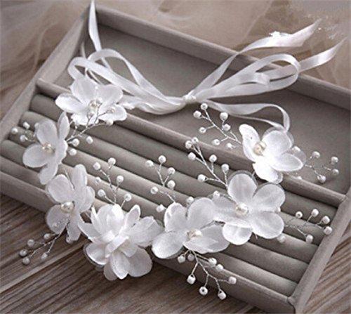 Romantic Flowers Pearl Garland Bridal Wedding/Sweet Sixteen/Flower Girl/Quinceanera Crown Headdress (Dress Flower Girl Bridals Romantic)