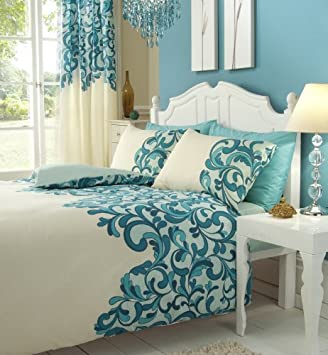 Curtains Ideas cream bedding and curtains : TEAL & CREAM KING SIZE DUVET SET WITH MATCHING CURTAINS: Amazon.co ...