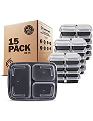 Freshware Meal Prep Containers [15 Pack] 3 Compartment with Lids, Food Containers, Lunch Box | BPA Free | Stackable | Bento Box, Microwave/Dishwasher/Freezer Safe, Portion Control, 21 day fix (32 oz)