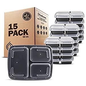 Freshware 15-Pack 3 Compartment Bento Lunch Boxes with Lids - Stackable, Reusable, Microwave, Dishwasher & Freezer Safe - Meal Prep, Portion Control, 21 Day Fix & Food Storage Containers (32oz) 21